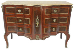 Casa Padrino baroque chest of drawers brown / gold / cream 130 x 50 x H. 90 cm - Handmade solid wood chest of drawers with 6 drawers and marble top - Baroque Furniture