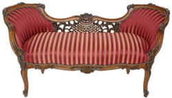 Casa Padrino baroque bench bordeaux red / beige / brown 150 x 55 x H. 80 cm - Magnificent striped solid wood bench - Baroque living room furniture