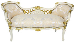 Casa Padrino baroque bench silver / cream / white / gold 150 x 55 x H. 80 cm - Magnificent solid wood bench with a noble pattern - Baroque living room furniture