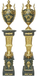 Casa Padrino baroque decorative porcelain vases with marble pillars set green / gold 30 x 30 x H. 180 cm - Noble & Sumptuous