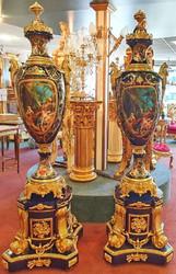 Casa Padrino baroque ceramic vases with base cobalt blue / gold 60 x 60 x H. 215 cm - Sumptuous decoration set - Hotel & Restaurant Decoration Accessories
