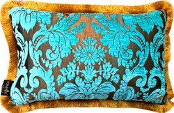 Luxury pillow Pompöös by Casa Padrino by Harald Glööckler Elegance Collection baroque pattern turquoise / gold 35 x 55 cm - luxury pillow