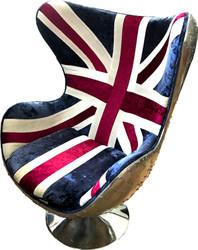 Casa Padrino Lounge Chair Union Jack / silver swivel in egg shape - luxury swivel armchair
