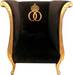 Extravagant pompöös by Casa Padrino luxury designer armchair by Harald Glööckler black / gold - baroque armchair