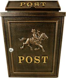 Casa Padrino Jugendstil Wandbriefkasten Post Pferdemotiv Bronzefarben Gold Antik - Antik Stil Briefkasten Postkasten Pferd