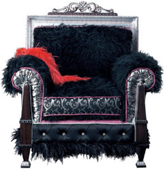 Casa Padrino luxury baroque throne armchair dark brown / black / silver / purple 86 x 80 x H. 99 cm - Magnificent living room armchair - First class quality - Made in Italy