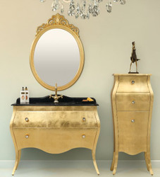 Casa Padrino luxury baroque bathroom set black / gold - 1 Washstand & 1 Washbasin & 1 Wall Mirror & 1 Chest of Drawers - Noble and Ornate - Luxury Quality