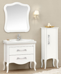 Casa Padrino luxury baroque bathroom set white / silver - 1 Washstand & 1 Washbasin & 1 Wall Mirror & 1 Chest of Drawers - Noble and Ornate - Luxury Quality