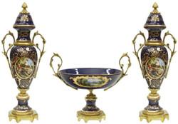 Casa Padrino baroque ceramic vase set with bowl dark blue / multicolor / gold - Magnificent decorative accessories in baroque style
