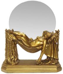 Casa Padrino Barock Tischspiegel Gold 30 x H. 37 cm - Standspiegel - Schminkspiegel - Kosmetikspiegel - Kleiner Deko Spiegel im Barockstil