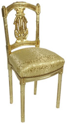 Casa Padrino Baroque Ladies Chair with Elegant Pattern Gold 40 x 35 x H. 85 cm - Handmade Antique Style Chair - Baroque Furniture
