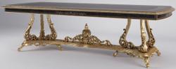 Casa Padrino Luxus Barock Esstisch Antik Gold / Schwarz 300  x 117 x H. 80 cm - Prunkvoller Esszimmertisch im Barockstil - Luxus Qualität