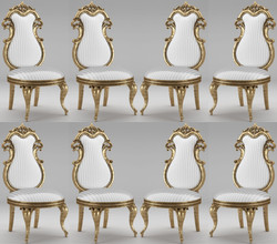 Casa Padrino luxury baroque dining chair set white / silver / antique gold 55 x 55 x H. 120 cm - Magnificent striped kitchen chairs - Baroque chairs set of 8 - Dining Room Furniture