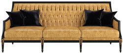 Casa Padrino luxury baroque living room leather sofa gold / black / antique gold 235 x 95 x H. 95 cm - Noble living room furniture in baroque style