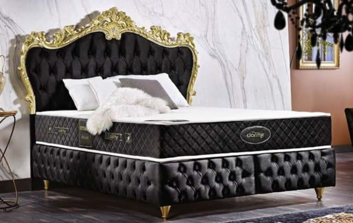 casa padrino baroque double bed black gold ornate velvet bed with mattress complete set baroque bedroom furniture