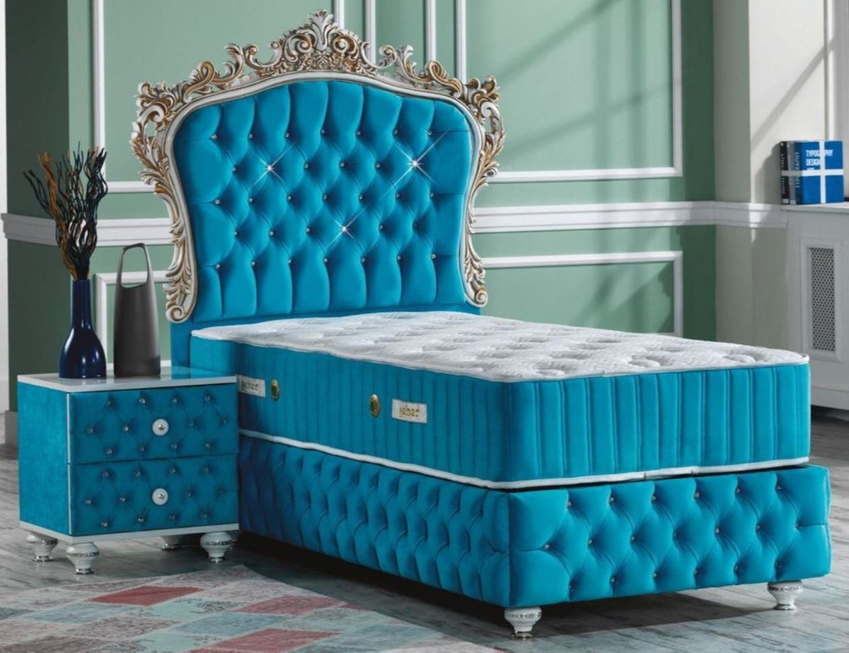 Picture of: Casa Padrino Baroque Bedroom Set Turquoise White Silver Antique Gold Magnificent Single Bed With Bedside Table Bedroom Furniture In Baroque Style