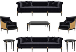 Casa Padrino luxury baroque living room set black / gold / antique gold - 2 Sofas & 2 Armchairs & 1 Coffee Table & 2 Side Tables - Baroque style furniture - Noble baroque living room furniture