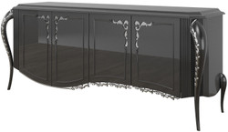 Casa Padrino luxury baroque sideboard black / silver 218 x 56 x H. 94 cm - Noble living room cabinet with 4 doors - Baroque Furniture