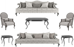 Casa Padrino luxury baroque living room set silver / gray / black - 2 Sofas & 2 Armchairs & 1 Coffee Table & 2 Side Tables - Living room furniture in baroque style - Noble Baroque Furniture
