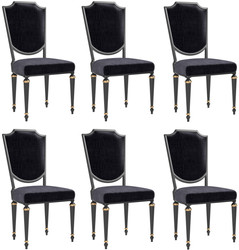 Casa Padrino luxury baroque dining chair set black / antique gold 50 x 50 x H. 105 cm - Noble kitchen chairs - Baroque chairs set of 6 - Dining Room Furniture