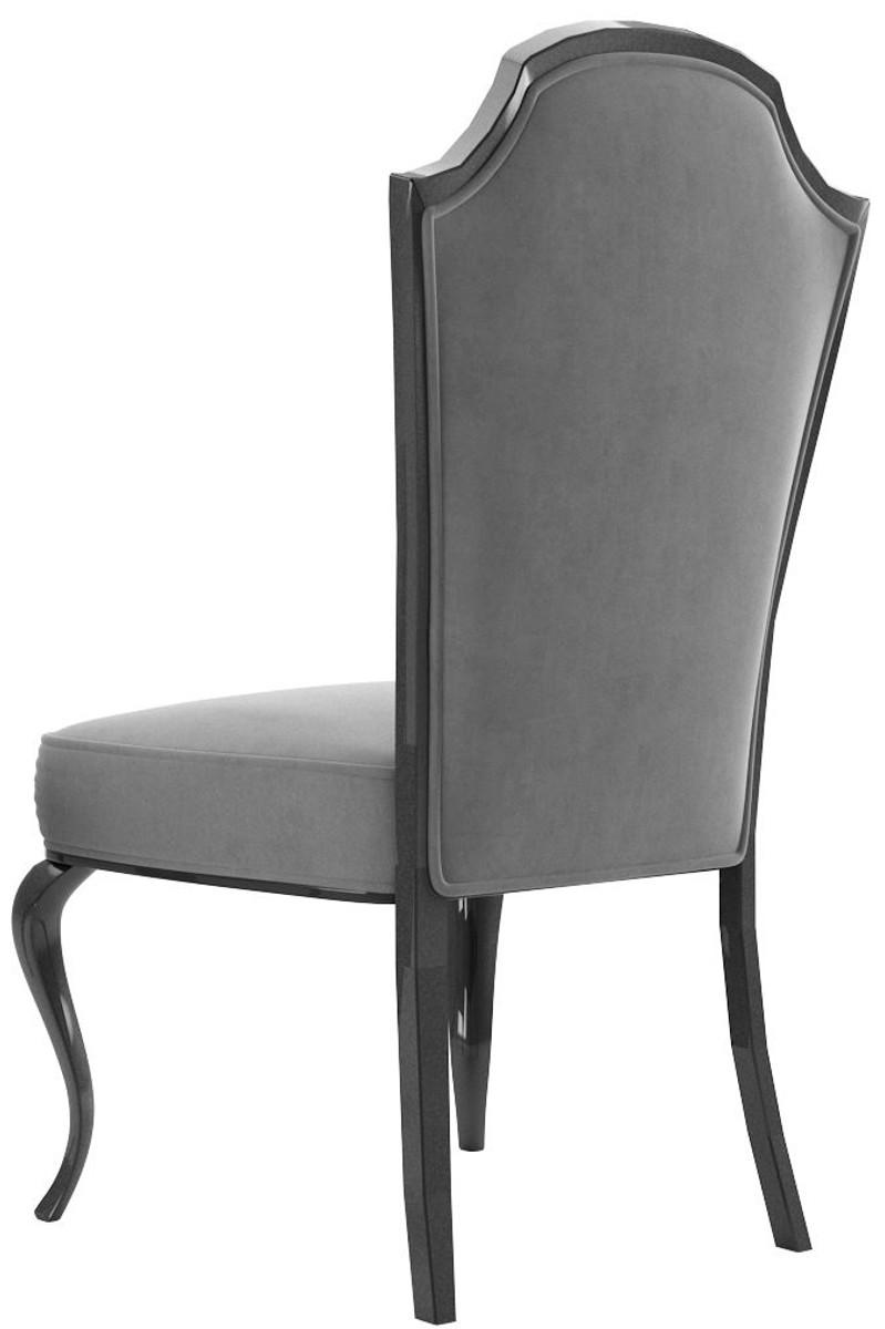 Casa Padrino Luxury Baroque Dining Set Gray Black Silver 1 Dining Table 6 Dining Chairs Baroque Dining Room Furniture Luxury Quality Noble Splendid
