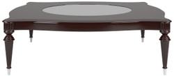 Casa Padrino Luxus Barock Couchtisch mit Glasplatte Dunkelbraun Hochglanz / Silber 110 x 110 x H. 45 cm - Edler Wohnzimmertisch im Barockstil - Barock Wohnzimmer Möbel