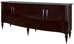 Casa Padrino Luxus Barock Sideboard Dunkelbraun Hochglanz / Silber 225 x 55 x H. 97 cm - Edler Wohnzimmer Schrank mit 4 Türen - Barock Möbel