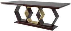 Casa Padrino designer dining table dark brown high gloss / silver / gold 220 x 110 x H. 77 cm - Noble rectangular solid wood kitchen table - Luxury Quality