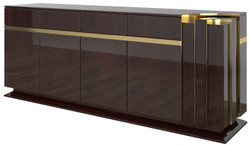 Casa Padrino designer sideboard dark brown high gloss / gold 220 x 50 x H. 85 cm - Noble cabinet with 4 doors and 4 drawers - Luxury living room furniture