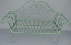 Casa Padrino Art Nouveau Garden Bench Rustic Green 137 x 49 x H. 96 cm - Nostalgic Bench - Garden & Patio Furniture