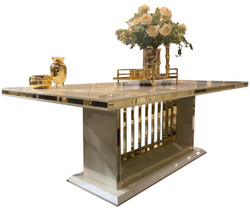 Casa Padrino luxury dining table with glass plate gray / gold 220 x 110 x H. 78 cm - Dining room table - Kitchen table - Luxury dining room furniture