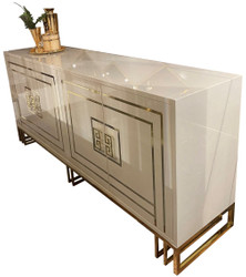Casa Padrino luxury sideboard gray / gold 220 x 55 x H. 92 cm - Noble cabinet with 4 doors - Luxury Quality - Luxury Furniture