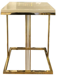Casa Padrino luxury side table gray / gold 50 x 50 x H. 65 cm - Noble table with glass plate - Luxury Quality - Living Room Furniture