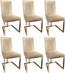 Casa Padrino luxury dining chair set gray / gold 50 x 60 x H. 100 cm - Noble kitchen chairs set of 6 - Luxury dining room furniture