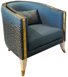 Casa Padrino luxury living room armchair blue / cream / gold 80 x 85 x H. 85 cm - Luxury living room furniture - Luxury Quality
