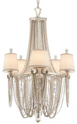 Casa Padrino luxury baroque chandelier silver / cream Ø 66 x H. 104 cm - Magnificent Hotel & Restaurant Chandelier in Baroque Style