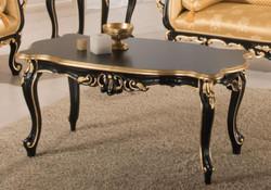 Casa Padrino Luxus Barock Couchtisch Schwarz / Gold 103 x 62 x H. 49 cm - Edler Wohnzimmertisch im Barockstil - Barock Wohnzimmer Möbel