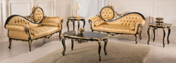 Casa Padrino luxury baroque living room set gold / black - 2 Sofas & 1 Coffee Table & 2 Side Tables - Living room furniture in baroque style - Noble Baroque Furniture
