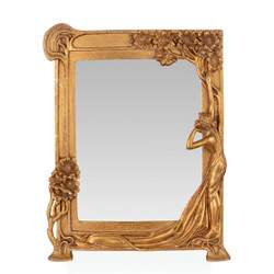 Casa Padrino Baroque table mirror make-up mirror gold H 34.4 cm, W 26.7 cm - Baroque mirror