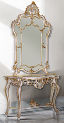 Casa Padrino luxury baroque mirror console white / antique gold 125 x 41 x H. 232 cm - Magnificent console table with wall mirror - Baroque Furniture
