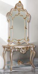 Casa Padrino Luxus Barock Spiegelkonsole Weiß / Antik Gold 125 x 41 x H. 232 cm - Prunkvoller Konsolentisch mit Wandspiegel - Barock Möbel