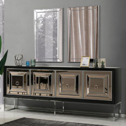 Casa Padrino luxury sideboard with 4 mirrored doors black / silver 208 x 49 x H. 88 cm - Luxury living room furniture