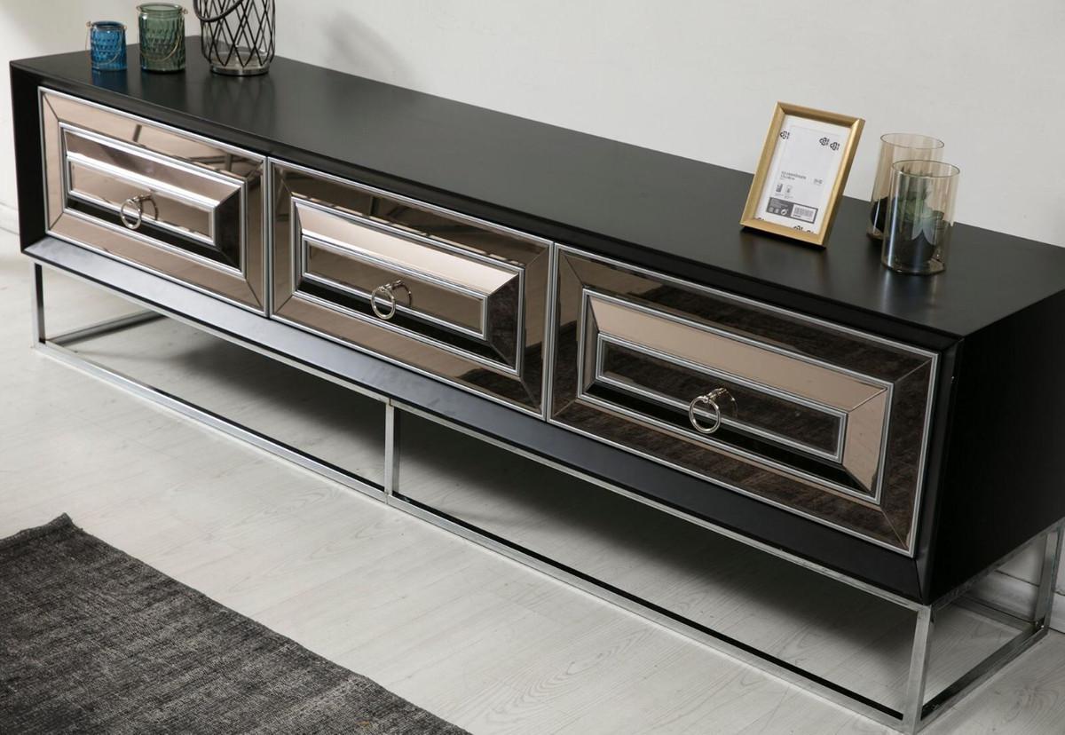 Casa Padrino Luxus Tv Schrank Mit 3 Verspiegelten Schubladen