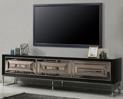 Casa Padrino luxury TV cabinet with 3 mirrored drawers black / silver 220 x 49 x H. 64 cm - Living room furniture - Luxury Quality
