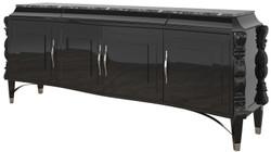 Casa Padrino Luxus Art Deco Sideboard Schwarz / Silber 220 x 50 x H. 90 cm - Edler Wohnzimmer Schrank mit 4 Türen und Marmorplatte - Art Deco Möbel