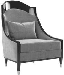 Casa Padrino luxury Art Deco living room armchair gray / black / silver 80 x 85 x H. 110 cm - Luxury Quality - Art Deco Furniture