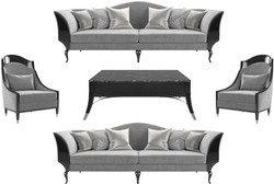 Casa Padrino luxury Art Deco living room set gray / black / silver - 2 Sofas & 2 Armchairs & 1 Coffee Table with Marble Top - Noble Art Deco Living Room Furniture