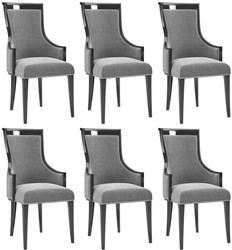Casa Padrino luxury Art Deco dining chair set gray / black / silver 50 x 50 x H. 110 cm - Noble kitchen chairs set of 6 - Art Deco Dining Room Furniture