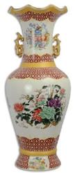 Casa Padrino Art Nouveau porcelain vase multicolor Ø 23 x H. 60.3 cm - Round flower vase with elegant flower design - Baroque & Art Nouveau Decoration Accessories