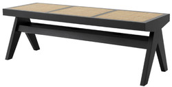 Casa Padrino luxury bench black / natural 136 x 46 x H. 47 cm - Solid wood bench with hand-woven rattan weave - Luxury Furniture